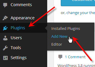 hover over plugins click add new