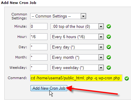 fill in cron job command click add new cron job