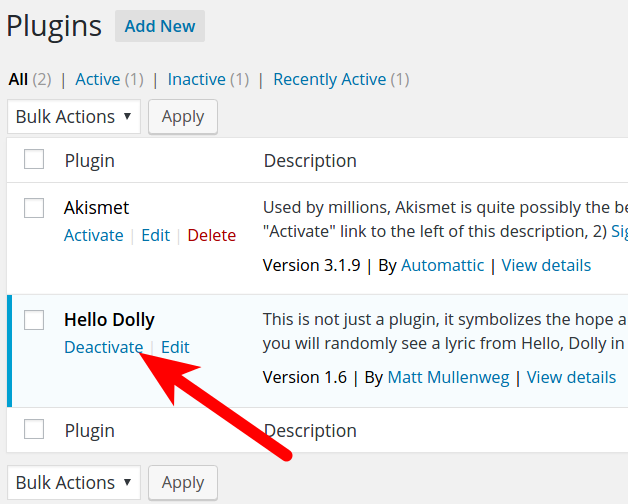Disabling WordPress Plugins