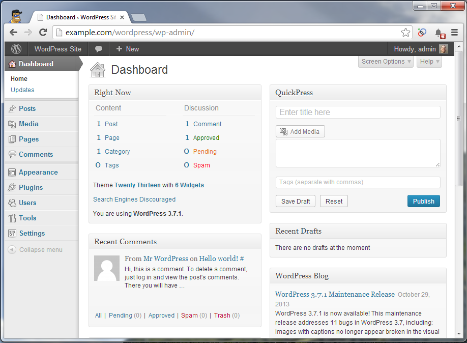 wordpress dashboard fixed
