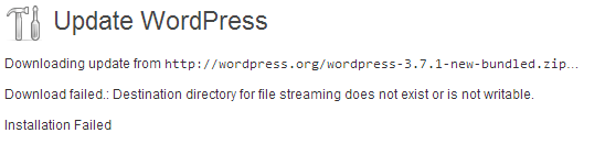 WordPress core update failed
