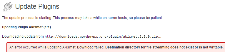 WordPress plugin update failed