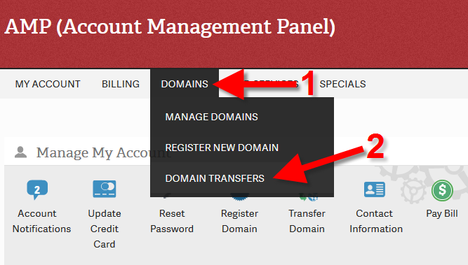 Domain Transfers Screen